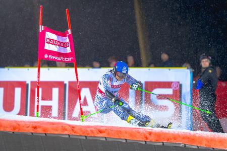 STOCKHOLM, SWEDEN, JAN 31, 2017: Veronica Velez Zuzulova (SVK) at the FIS Parallel slalom city event in Hammarbybacken, Stockholm