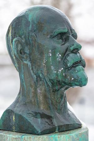 STOCKHOLM, SWEDEN, FEB 22, 2017: sculpture in bronze of Karl Nordstrom by Carl Eldh at Prince Eugens Waldermarsudde during snowy weather.