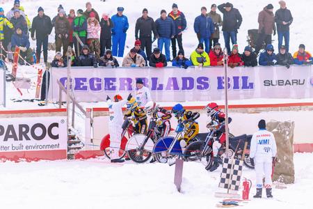 winter tires: NORRTALJE, SWEDEN, FEB 26, 2017: Iceracing Racers at the start grid during the Swedish national championships at HZ Bygg Arena in Hallstavik. Editorial