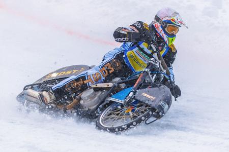 NORRTALJE, SWEDEN, FEB 26, 2017: Iceracing Racers during the Swedish national championships at HZ Bygg Arena in Hallstavik.