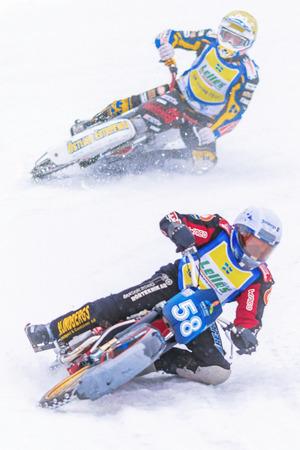 NORRTALJE, SWEDEN, FEB 26, 2017: Iceracing Racers in a curve during the Swedish national championships at HZ Bygg Arena in Hallstavik.