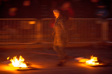 STOCKHOLM, SWEDEN - MARS 14, 2017: Celebrations of Chaharshanbeh Soori or a Fire festival to celebrate the spring and the new year at Kungstradgarden in Stockholm