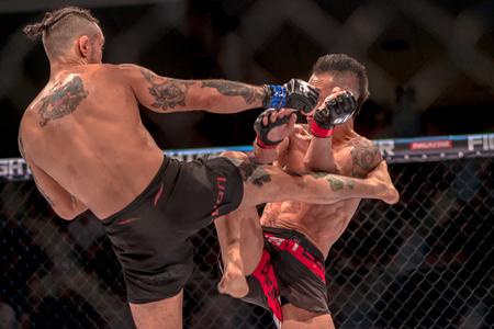 STOCKHOLM, SWEDEN - APRIL 1, 2017: MMA fight between Thomas Hytten vs Fernando Flores at Superior Challenge 15 at Eriksdalshallen in Stockholm. Flores won by decision Stock Photo - 75215775