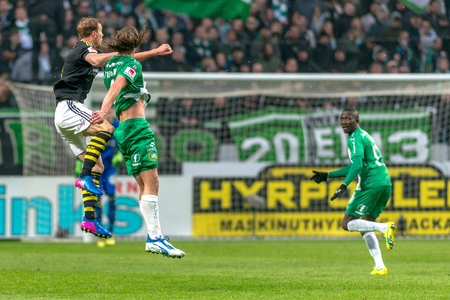 SOLNA, SWEDEN - APRIL 17, 2017: Derby game between AIK and Hammarby IF at the national stadium Friends Arena in Solna. Hammarby won with 2-1 Editorial