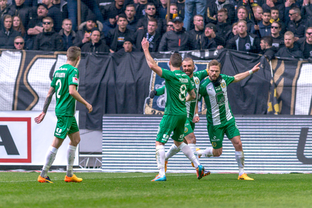 SOLNA, SWEDEN - APRIL 17, 2017: Celebrations after Arnor Smarason goal at the derby match between AIK and Hammarby IF at the national stadium Friends Arena in Solna. Hammarby won with 2-1