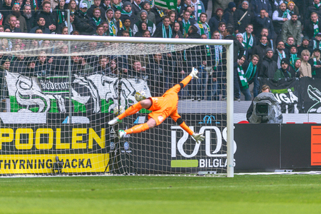 SOLNA, SWEDEN - APRIL 17, 2017: Nils Johansson scores at the derby match between AIK and Hammarby IF at the national stadium Friends Arena in Solna. Hammarby won with 2-1 Editorial