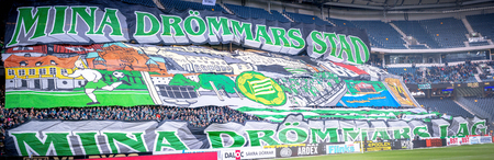 SOLNA, SWEDEN - APRIL 17, 2017: HIF or Bajen tifo at the match between AIK and Hammarby IF at the national stadium Friends Arena in Solna. Hammarby won with 2-1 Editorial
