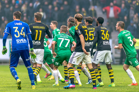 SOLNA, SWEDEN - APRIL 17, 2017: Last push by AIK at the derby game between AIK and Hammarby IF at the national stadium Friends Arena in Solna. Hammarby won with 2-1