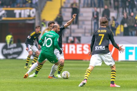SOLNA, SWEDEN - APRIL 17, 2017: Kennedy Bakircioglu at the derby match between AIK and Hammarby IF at the national stadium Friends Arena in Solna. Hammarby won with 2-1 Editorial