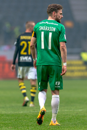 SOLNA, SWEDEN - APRIL 17, 2017: Back of Arnor Smarason at the derby game between AIK and Hammarby IF at the national stadium Friends Arena in Solna. Hammarby won with 2-1 Editorial