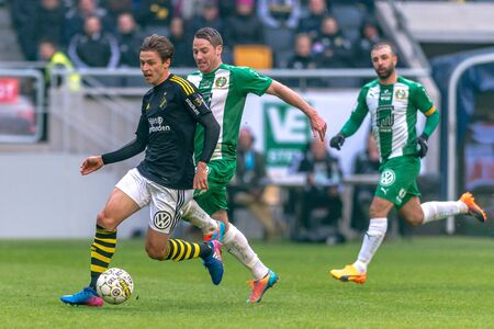 SOLNA, SWEDEN - APRIL 17, 2017: Simon Thern at the derby match between AIK and Hammarby IF at the national stadium Friends Arena in Solna. Hammarby won with 2-1