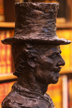 STOCKHOLM, SWEDEN - APRIL 22, 2017: Sculpture of writer August Strindberg at the rotunda in Stockholm Stadsbibliotek or Public Library. The building is from 1928 and the architect is Gunnar Asplund