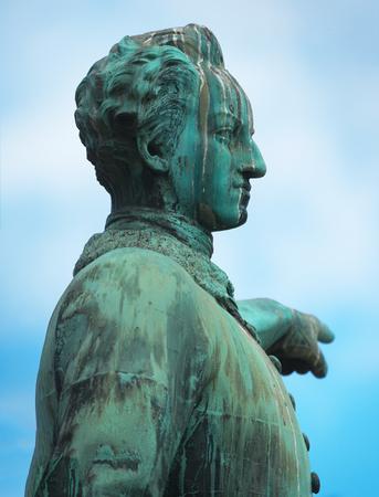 Bronze statue of Karl XII at Kungstradgarden in Stockholm. Sweden