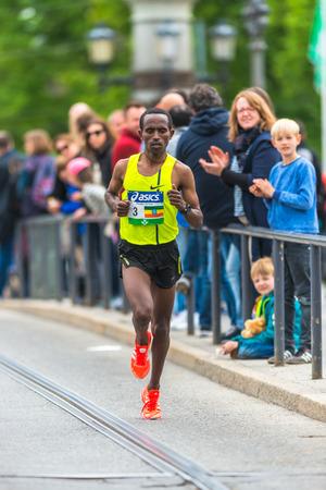 STOCKHOLM, SWEDEN - JUNE 3, 2017: Fikadu Girma (ETH) at the Stockholm Marathon. About +13k started
