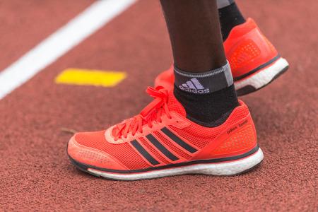 STOCKHOLM, SWEDEN - JUNE 3, 2017: Running shoes at Stockholm Marathon. About +13k started