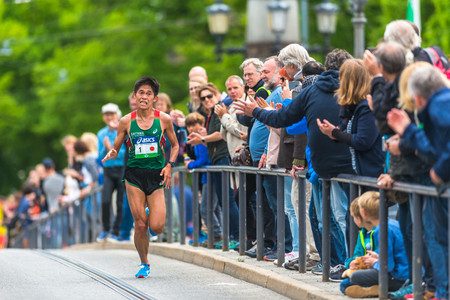 STOCKHOLM, SWEDEN - JUNE 3, 2017: Yuki Kawauchi (JPN) at the Stockholm Marathon. Editorial