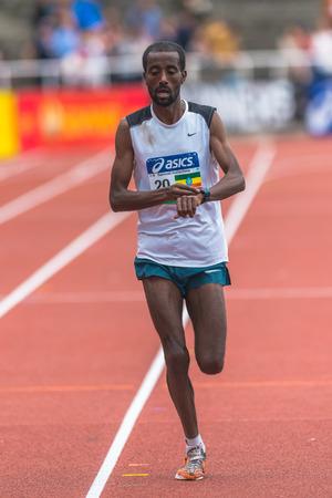 STOCKHOLM, SWEDEN - JUNE 3, 2017: Silver medalist Samuel Getachew (ETH) at the Stockholm Marathon. About +13k started Editorial