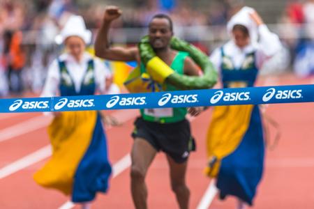 STOCKHOLM, SWEDEN - JUNE 3, 2017: Winner Abrha Milaw (ETH) at Stockholm Marathon. About +13k started Editorial