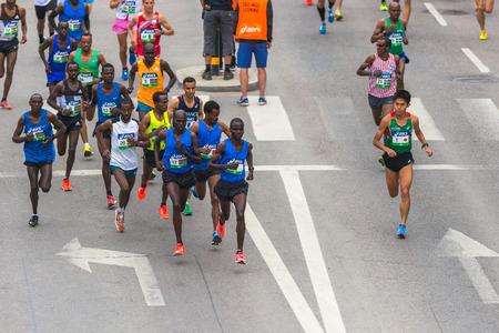 mustafa: STOCKHOLM, SWEDEN - JUNE 3, 2017: Leading group at the Stockholm Marathon just after the start.