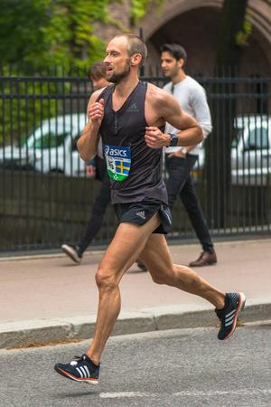 STOCKHOLM, SWEDEN - JUNE 3, 2017: Claes Theander (SWE) at the Stockholm Marathon. About +13k started