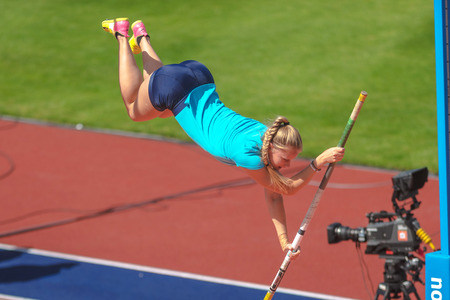 STOCKHOLM, SWEDEN - JUNE 18, 2017:  Warmup at the women pole vault competition at the IAAF Diamond League in Stockholm.