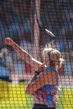 lanzamiento de disco: STOCKHOLM, SWEDEN - JUNE 18, 2017:  Discus thrower Nadine Muller at the IAAF Diamond League in Stockholm. warmup at the IAAF Diamond League in Stockholm.