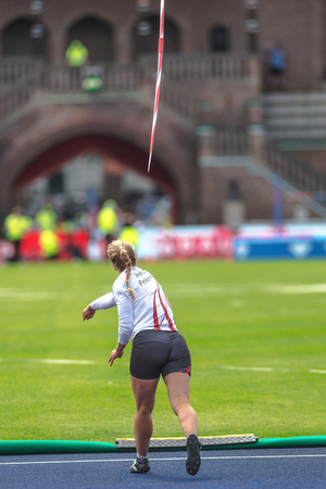 STOCKHOLM, SWEDEN - JUNE 18, 2017:  Female javelin warmup at the IAAF Diamond League in Stockholm. Reklamní fotografie - 81464107