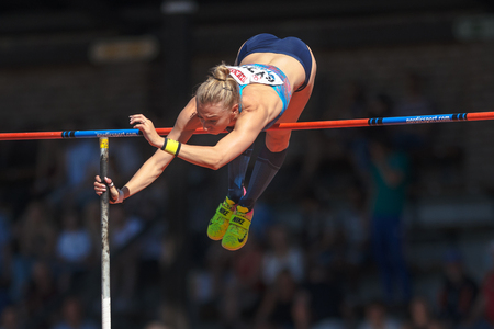 STOCKHOLM, SWEDEN - JUNE 18, 2017:  Lisa Ryzih at the womens pole vault at the IAAF Diamond League in Stockholm. Editorial