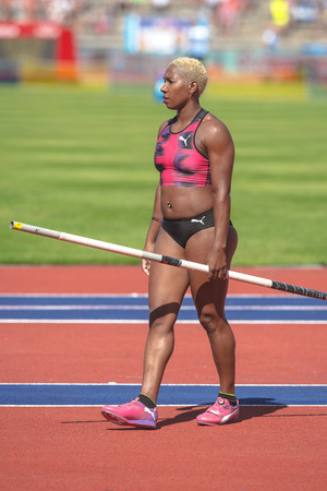 STOCKHOLM, SWEDEN - JUNE 18, 2017:  Yarisley Silva (CUB) in the pole voult at the IAAF Diamond League in Stockholm.