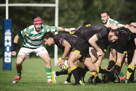 STOCKHOLM, SWEDEN - AUG 19, 2017: Rugby game between Hammarby IF and Stockholm Exiles at Arstafaltet. Editorial