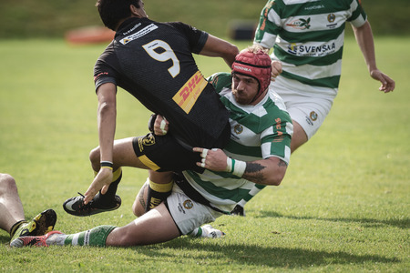STOCKHOLM, SWEDEN - AUG 19, 2017: Rugby game between Hammarby IF and Stockholm Exiles at Arstafaltet. Éditoriale