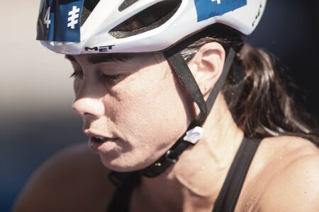 STOCKHOLM, SWEDEN - AUG 26, 2017: Closeup of Andrea Hewitt (NZL) at the transitiion area between the swimming and cycling in the womens ITU triathlon series. Female Olympic distance.