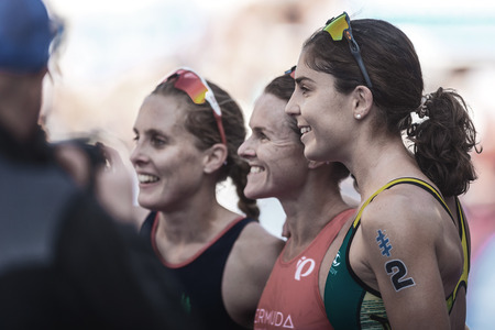 STOCKHOLM, SWEDEN - AUG 26, 2017: Podium winners Duffy (BER), Learmonth (GBR and Gentle (AUS posing for media at the womens ITU triathlon series. Female Olympic distance.