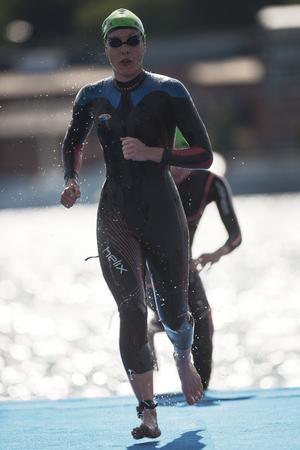 STOCKHOLM, SWEDEN - AUG 26, 2017: Second lap at the women triathlon swim at the ITU world triathlon series. Female Olympic distance.