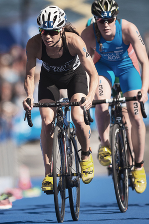 STOCKHOLM, SWEDEN - AUG 26, 2017: Andrea Hewitt (NZL) cycling in the womens ITU triathlon series. Female Olympic distance. Editorial