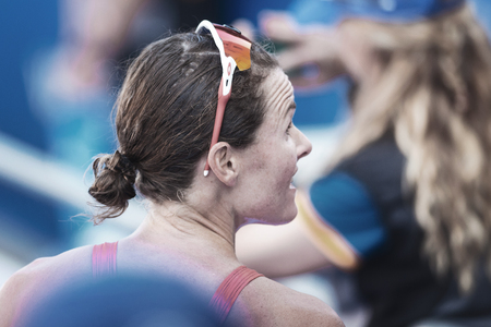 STOCKHOLM, SWEDEN - AUG 26, 2017: Closeup of the face of Flora Duffy (BER) after the finish at the womens ITU triathlon series. Female Olympic distance. Editorial