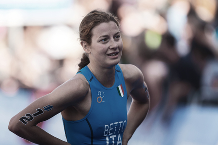 STOCKHOLM, SWEDEN - AUG 26, 2017: Alice Betto (ITA) after the finish at the womens ITU triathlon series. Female Olympic distance.