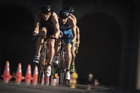 STOCKHOLM, SWEDEN - AUG 26, 2017: Jorik Van Egdom (NED) leading a group of triathletes on bike in the ITU triathlon series for men. Olympic distance Editorial