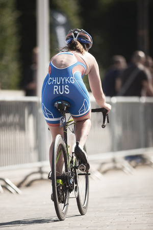 STOCKHOLM, SWEDEN - AUG 26, 2017: Maria Tchulko (RUS) cycling in the womens ITU triathlon series. Female Olympic distance. Editorial