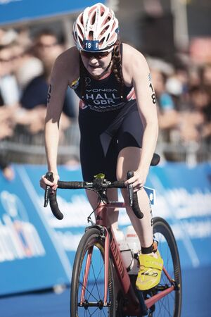 STOCKHOLM, SWEDEN - AUG 26, 2017: Lucy Hall (GBR) cycling in the womens ITU triathlon series. Female Olympic distance. Editorial