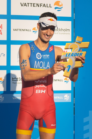 STOCKHOLM, SWEDEN - AUG 26, 2017: Overall leader Mario Mola (ESP) during the ITU triathlon series for men. Olympic distance