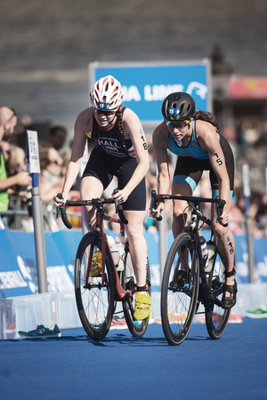 STOCKHOLM, SWEDEN - AUG 26, 2017: Cycling in the womens ITU triathlon series. Female Olympic distance. Editorial