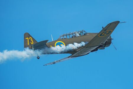 OREBRO, SWEDEN - SEP 2, 2017: Two SK 16 in a dogfight in the airshow at Orebro airport. Historic airoplanes