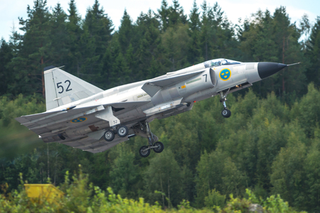 OREBRO, SWEDEN - SEP 2, 2017: Takeoff with the AJS 37 Viggen in the airshow at Orebro airport. Historic airoplanes