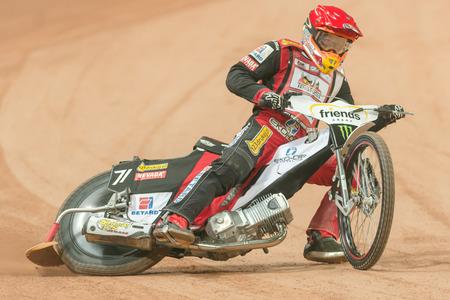 SOLNA, SWEDEN - SEPT 23, 2017: Maciej Janowski (POL) at the Stockholm FIM Speedway Grand Prix at Friends Arena in Stockholm. Editorial