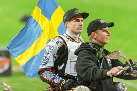 SOLNA, SWEDEN - SEPT 23, 2017: Kim Nilsson (SWE) enters on motorcycle bikes at Stockholm FIM Speedway Grand Prix at Friends Arena in Stockholm.