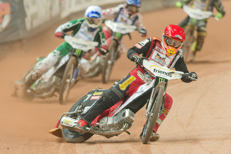 SOLNA, SWEDEN - SEPT 23, 2017: Maciej Janowski (POL) at the Stockholm FIM Speedway Grand Prix at Friends Arena in Stockholm. Banco de Imagens - 87195115
