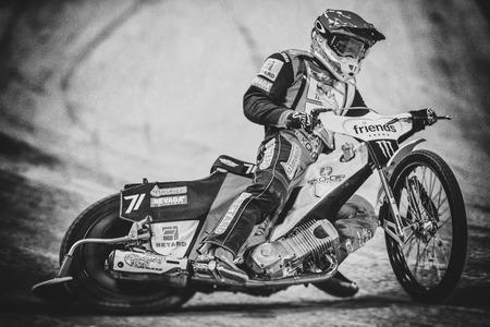 SOLNA, SWEDEN - SEPT 23, 2017: Maciej Janowski (POL) at the Stockholm FIM Speedway Grand Prix in black and white