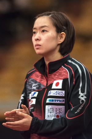 STOCKHOLM, SWEDEN - NOV 17, 2017: Kasumi Ishikawa (Japan) at the table tennis tournament SOC at the arena Eriksdalshallen in Stockholm.