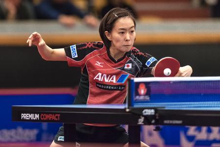 STOCKHOLM, SWEDEN - NOV 17, 2017: Kasumi Ishikawa (Japan) against Gu Yuting (China) at the table tennis tournament SOC at the arena Eriksdalshallen in Stockholm.